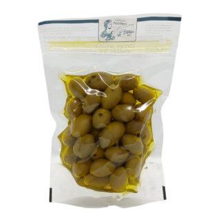 olive verdi all'alloro in olio extravergine di oliva
